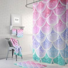 Lovely Pastel Mermaid Scales Shower Curtain Optional Bath, Bath Towels Mat Bathroom  Set