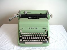 Green Royal Typewriter - shades of PJ the subject of my book, Tally: An Intuitive Life, who had an old Royal Royal Typewriter, Retro Typewriter, Antique Typewriter, Vintage Suitcases, Vintage Luggage, Vintage Typewriters, Rolls Royce, Bedroom Wall Colors, Writing
