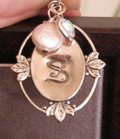 "Handstamped ""Vintage"" Pendant w/Coin Pearl & Swarovski crystal"