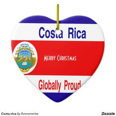 Costa rica Double-Sided heart ceramic christmas ornament