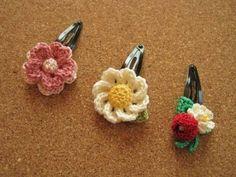 Hair Accessories レース糸のお花 パッチンピン(ヘアピン)3個 ハンドメイド インテリア 雑貨 Handmade ¥620yen 〆05月14日