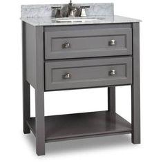 Elements VAN088-T Alder 30 Vanity Set with Wood Cabinet, Marble Top and One Undermount Sink