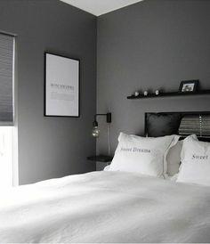 Black And Grey Bedroom, Black Bedroom Decor, Bedroom Setup, Bedroom Wall Colors, Room Design Bedroom, Bedroom Layouts, Room Ideas Bedroom, Home Room Design, Bedroom Styles