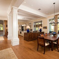 Kiawah Flyway Oceanfront - traditional - dining room - charleston - by Island Architects Interior Columns, Interior Design, Interior Ideas, Home Renovation, Home Remodeling, Dream Home Design, House Design, Column Design, Open Concept Kitchen