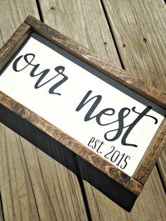 Established sign, family established sign, our nest, our nest sign, wedding established sign, family name sign, rustic decor, est sign This