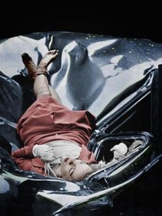 "Evelyn McHale (pictured here) jumped to her death from the Empire State Building in 1947, and landed on a parked limousine. Surprisingly, she looked unharmed and peaceful. A photographer happened to be nearby and immediately snapped this photo labeling it, ""The Most Beautiful Suicide"". So sad."