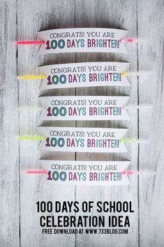 100 Days of School Glow Bracelet - Inspiration Made Simple - - Looking for a fun 100 Days of School Celebration Idea? Check out this simple idea with free printable! 100th Day Of School Crafts, 100 Day Of School Project, 100 Days Of School, School Fun, School Projects, School Stuff, School Treats, School Gifts, Student Gifts