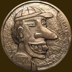 JOEY BLAYLOCK HOBO NICKEL - FUNNY GUY - 1927 BUFFALO NICKEL Hobo Nickel, Coin Art, Old Coins, Guided Meditation, Man Humor, Buffalo, Guy, Carving, Money