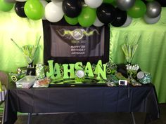 Love the Green letters spelling out the name, the giant green suckers, and the balloon canopy! Happy 8th Birthday, 13th Birthday Parties, Birthday Games, Birthday Party Decorations, Birthday Ideas, Birthday Boys, Xbox Party, Game Truck Party, Halo Party