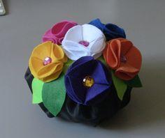 Peso de Porta, com flore de feltro Passo a Passo - doorstop with flowers