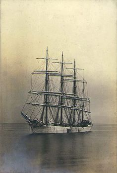 British four-masted bark SAMARITAN at anchor, Commencement Bay, Washington, ca. 1904. / Wilhelm Hester Wilhelm Hester Collection