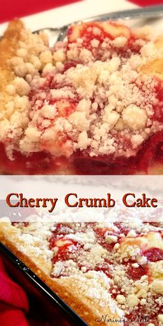 Quick and Easy Cherry Crumb Cake made with Cherry Pie Filling. Tender, moist, with just the right amount of crumb! The perfect breakfast or afternoon treat. easy 3 ingredients easy for a crowd easy healthy easy party easy quick easy simple Cherry Desserts, Köstliche Desserts, Delicious Desserts, Dessert Recipes, Cherry Pie Filling Desserts, Cherry Cake, Cherry Cobbler Recipe With Pie Filling, Cherry Crumb Cake Recipe, Cherry Crumb Pie
