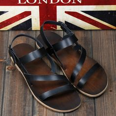 New 2014 Summer men's genuine leather sandals and slippers men's retro fashion casual sandals Roman leather shoes tide US $33.56