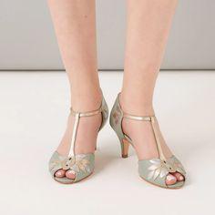 Rachel Simpson Isla Mint Leather Vintage T-Bar Shoes T Bar Shoes, Low Heel Shoes, Low Heels, Wedding Shoes Heels, Bridal Shoes, Rachel Simpson, Outfits Kombinieren, Justine, Sparkle Shoes