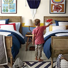 A very #preppy shared #room for kids.
