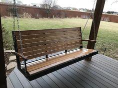 "My porch swing fabricated... Calling it ""Fat Guy's Swing"" Steel Tubing + Mahogany"