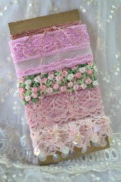 Vintage Ribbon Lace Trim Pink Bundle by Toide on Etsy