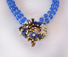 Miriam Haskell collar with sapphire Murano glass by JezebelsNOLA