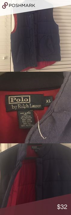 Polo by Ralph Lauren quilted vest size xl Warm Ralph Lauren vest dark navy blue with red interior. Size XL. Good condition-- comes from smoke free home Polo by Ralph Lauren Jackets & Coats Vests