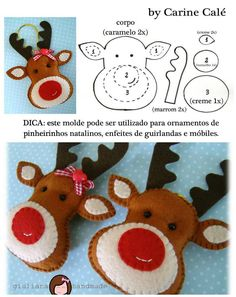 10 nouveaux ornements de Noël à coudre Christmas Projects, Felt Crafts, Holiday Crafts, Felt Projects, Diy Crafts, Felt Christmas Decorations, Felt Christmas Ornaments, Reindeer Ornaments, Reindeer Face