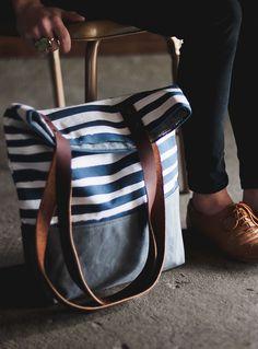 Stripes Shopper Tote repinned by #socovintage SoCoVintage.com