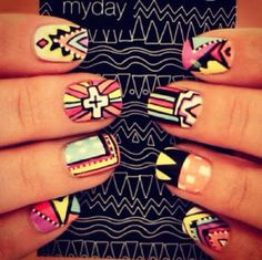 tribal nails - 65 Colorful Tribal Nails Make You Look Unique nail designs for short nails nail designs for short nails 2019 kiss nail stickers nail art stickers at home best nail polish strips 2019 Love Nails, How To Do Nails, Pretty Nails, Fun Nails, Style Nails, Crazy Nails, Sexy Nails, Beauty Nails, Hair Beauty