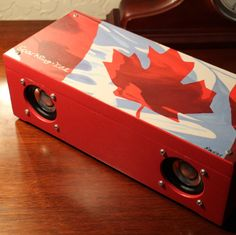 Audiophile Bluetooth Stereo Speaker > High Fidelity > Artisan Crafted > Reclaimed Canadian Maple Leaf Wood Winebox > Made In CALIFORNIA, USA