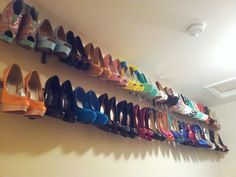 A Natalie McDonald DIY Shoe Bling Creation. My own personal shoe gallery. I made it with the IKEA - HUGAD Curtain rod ($6.99 for the longer length) & 3 BETYDLIG Wall/ceiling brackets ($1.50) for durability. I will post the finished project this weekend!