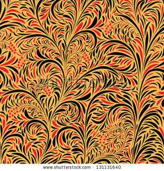 Seamless floral background of traditional Russian folk art painting (hohloma). by Vertyr, via ShutterStock