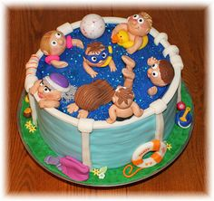 Pool Cake Pool Party Cakes, Pool Cake, Pig Party, Biscuit, 10th Birthday, Birthday Cakes, Balloon Cake, Snack Recipes, Snacks