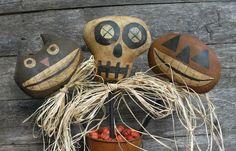 Primitive Halloween, Black Kitty, Skeleton, JOL Pumpkin Pokes