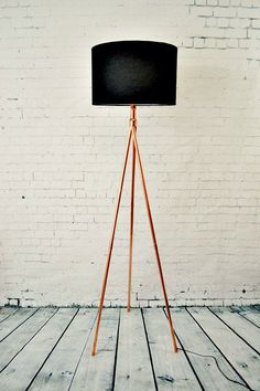 Floor Lamp - Handmade Copper Pipe Tripod Tall Standing Floor Lamp Base by AtDCopperCreations on Etsy