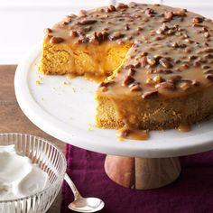 Pecan Pumpkin Cheesecake Recipe -I love to play with cheesecakes by mixing and matching flavors. This one with pumpkin and maple is the star of our Thanksgiving spread. —Sue Gronholz, Beaver Dam, Wisconsin