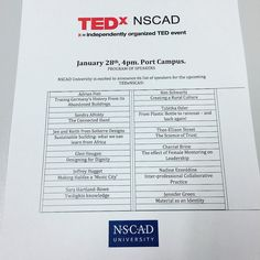 From @nscaduniversity  #TEDxNSCAD is ready to roll ... tickets on #Eventbrite while we still have them.  TEDxNSCAD January 28th. There are a wide range of interesting topics delivered by engaging speakers and you need to be there! . PROGRAM OF SPEAKERS . NSCAD University is excited to announce its list of speakers for the upcoming TEDxNSCAD event on January 28th 2018: . Adrian Fish . Tracing Germanys History From its Abandoned Buildings. . Sandra Alfoldy . The Connected Hand . Jen and Keith…