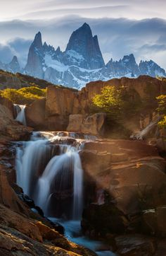 Arroyo del Salto River waterfalls with Fitz Roy mountain in the background, Los Glaciares National Park, Patagonia, Argentina