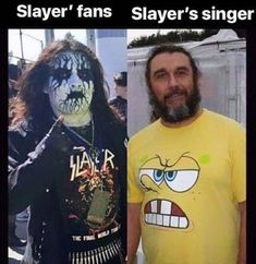 Slayer fans & Tom Araya (Slayer bass player and vocals) Rock Y Metal, Black Metal, Music Memes, Music Humor, Metallica, Tom Araya, Rock Meme, Metal Meme, Rock And Roll