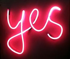 Hot pink neon yes sign by Beyondcuter on Etsy, $80.00