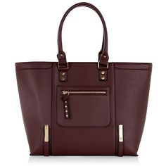 Dark Red Structured Tote Bag ($42) ❤ liked on Polyvore featuring bags, handbags, tote bags, plum, zip tote, vegan tote bag, structured tote bag, faux-leather handbags and vegan handbags