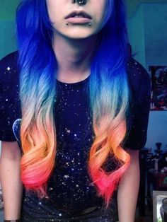 Blue orange red dyed ombre hair