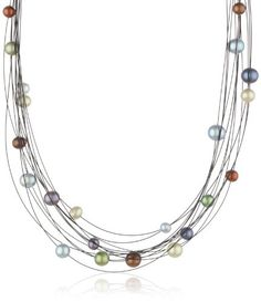 """Honora """"Dark Multi"""" Freshwater Cultured Pearl and Steel Galaxy Necklace, 18"""" Honora,"""