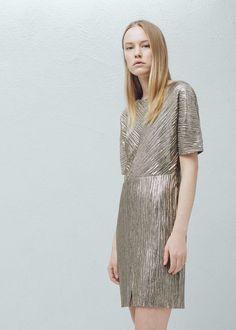 Vestido metalizado - Vestidos de Mulher | MANGO