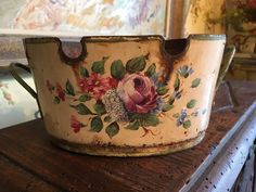 Antique French Yellow Oval Tole Jardiniere Cache Pot Planter C1860 Hand Painted #French #Unknown
