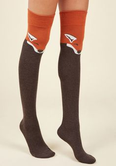 Fur the Win Thigh Highs in Brown Fox - Every outfit becomes a stylish victory when sporting these critter printed socks! Sleepy, pumpkin-orange foxes festoon this over-the-knee pair, boasting an undeniably adorable appeal. Fox Socks, Cute Socks, Orange Socks, Knee High Socks, Thigh High Socks Outfit, High Boots, Knee Socks Outfits, Latex Fashion, Fashion Goth