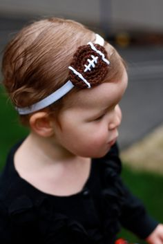 Crochet Baby girl Football Headband and Football Leg Warmers. $14.95, via Etsy.