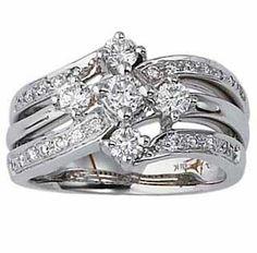 Diamond Right Hand Rings - 14k White Gold Vintage Style Right Hand Ring. .82 cts total diamond weight