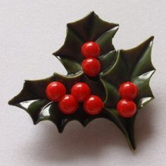 Christmas Holly Branch Leaves Berries Brooch Pin Vintage Xmas
