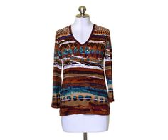 Chico's Multi-Color Rust Purple Teal Artsy Print V-Neck Stretch Knit Top Size 0 #Chicos #KnitTop #Casual