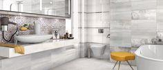 Vega 25x60 | Ceramika Końskie - produkujemy gres Vegas, Apartment Interior Design, Double Vanity, Bathtub, Home, Bathroom Ideas, Design Ideas, Grey, Pattern