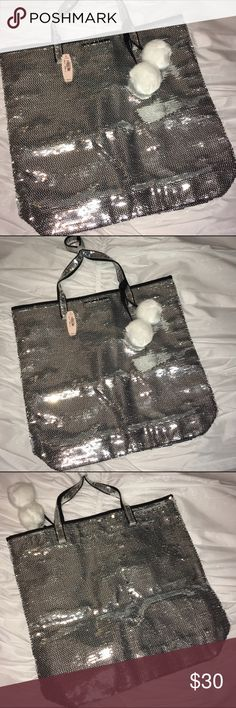 Victoria Secret silver bling sequin tote. NWT! Victoria Secret silver bling sequin tote. NWT!  Super cute bag for Winter time.  Never been used. Victoria's Secret Bags Totes