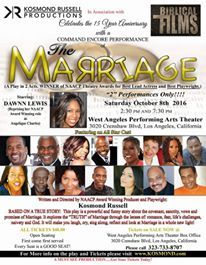 """$25.00 THE MARRIAGE TICKET PROMO THIS WKND ONLY!!! 2 PERFORMANCES ONLY Saturday October 8th...2:30pm and 7:30pm. West Angeles Performing Arts Center 3020 Crenshaw Blvd LA California (PROMO TICKETS """"CANNOT"""" BE PURCHASED AT THE BOX OFFICE...ONLINE ONLY!!!!) THE MARRIAGE PLAY....Featuring a PRE-SHOW """"Mini Concert"""" (both shows) BY:The Legendary World Renown Saxophonist: """"PANTHER"""" Felton Perry https://youtu.be/ZvvYOkzM6Go Special Promo Price THIS WEEKEND ONLY (Sale Ends MIDNIGHT Sunday Septemb"""